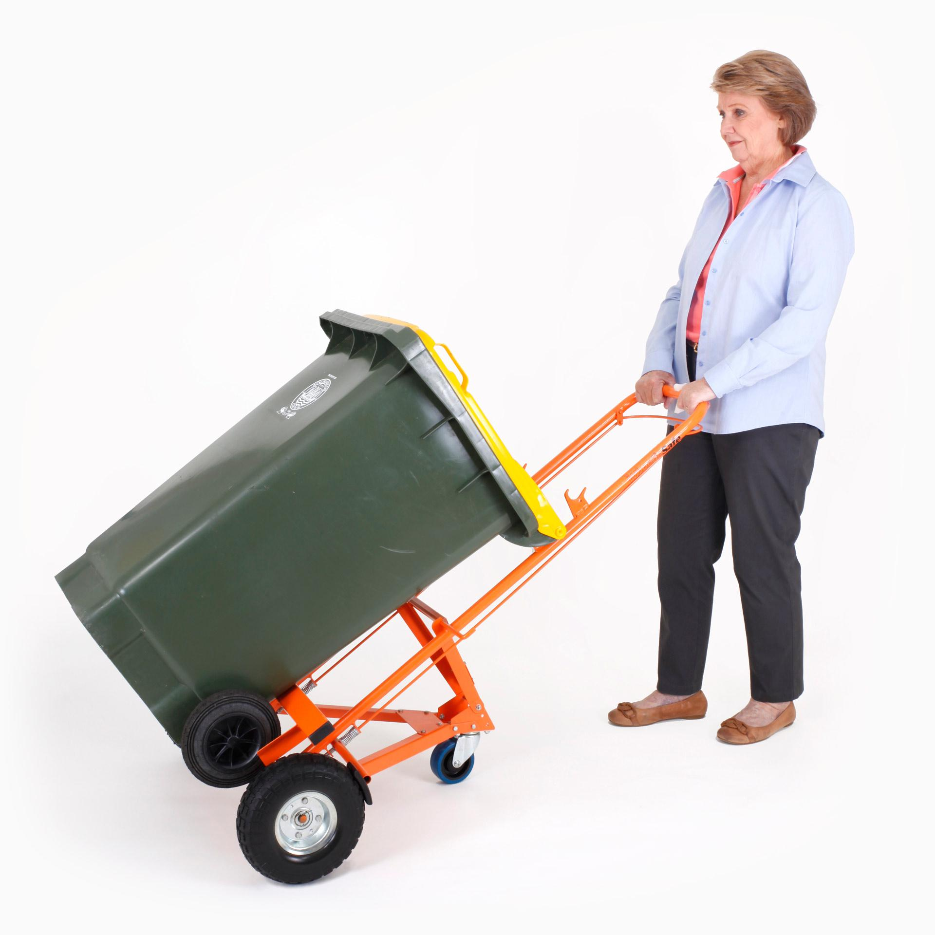 WheelieSafe Manual Bin Trolley with One Bin Front