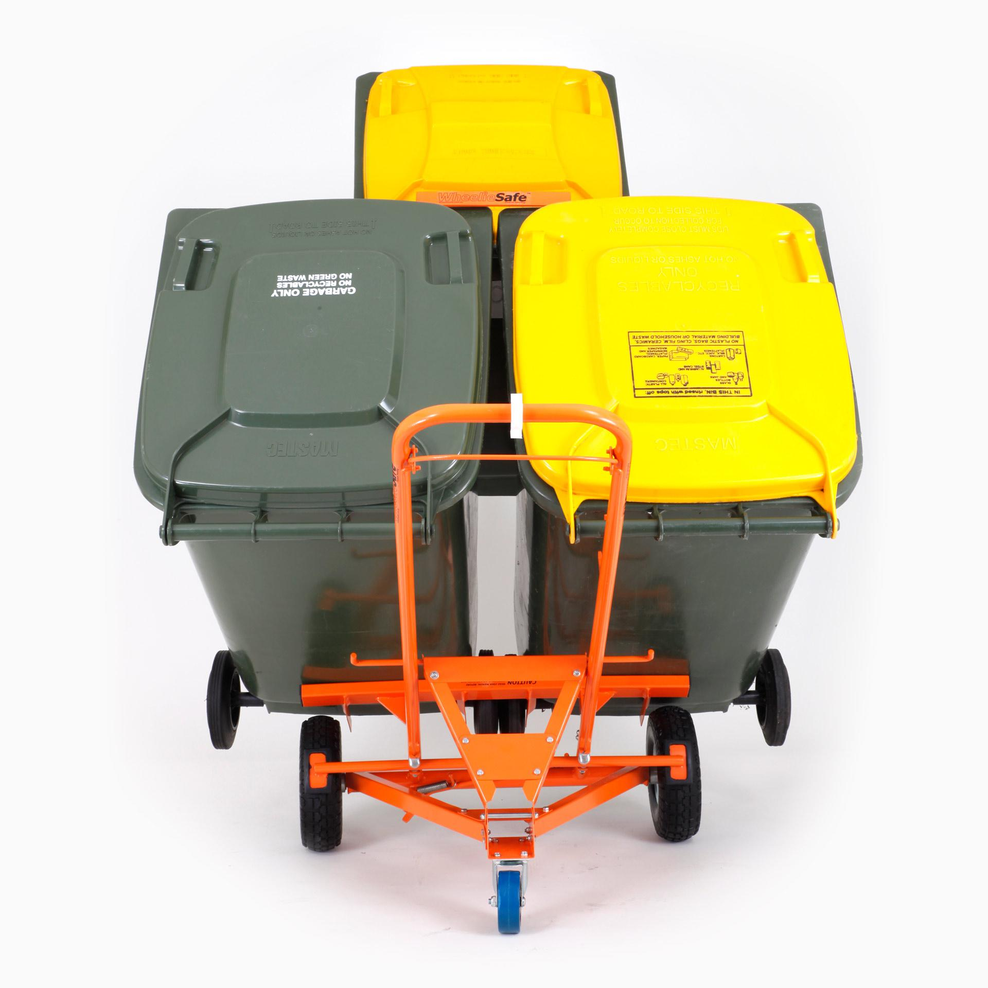 WheelieSafe Manual Bin Trolley with Three Bins (Rear)