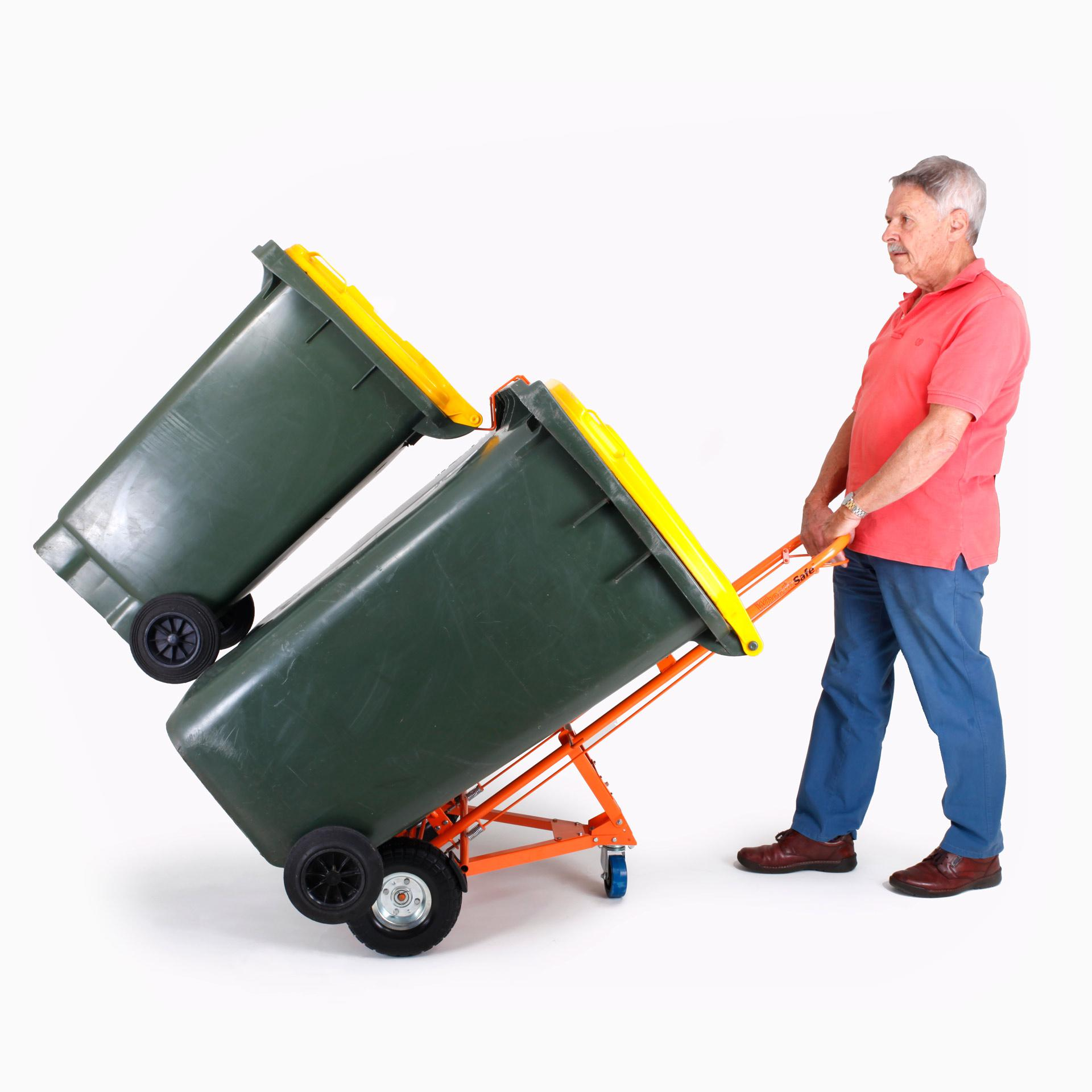 WheelieSafe Manual Bin Trolley with Two Bins Side
